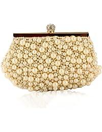 ERGEOB Damen Clutch Abendtasche Handtasche Handmade Clutch Kleine Perlen Diamant Ring Schnalle Brauttasche Hochzeittasche Weiss