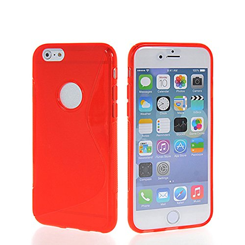 iPhone 6 H¨¹lle,COOLKE [Schwarz] S-Line Design Schutzh¨¹lle Silikon Soft TPU Cover Case F¨¹r for Apple iPhone 6 (4.7 Inch) Rote