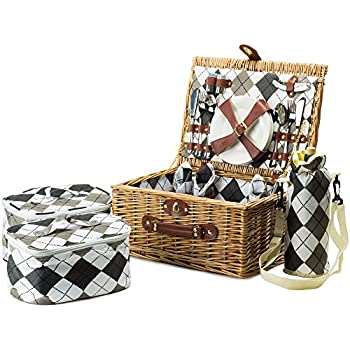 Andrew James – Premium Four Person Traditional Picnic Basket - Willow - With Elegant Check Lining, Ceramic Plates, Stainless Steel Cutlery, Wine Glasses and Towels - 3 Refrigerated Bags
