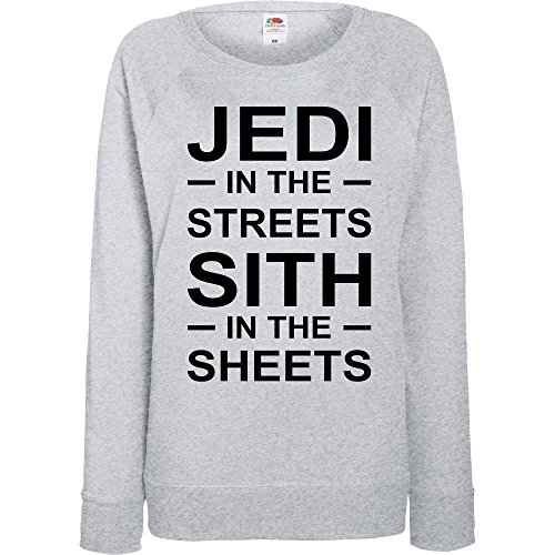 TRVPPY - Sweat Pull, modèle Jedi in the Streets, Sith in the Sheets - Femme, différentes tailles et couleurs Gris