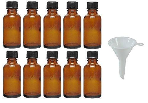 Viva Haushaltswaren - 10 x Tropfflasche 30 ml, Mini Glasflaschen mit Tropfeinsatz aus Braunglas, als Apothekerflasche verwendbar - Made in Germany & BPA frei (inkl. Trichter Ø 5 cm) -
