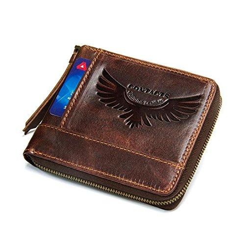 Schwarz Engel Männer Brieftasche Vintage Rindsleder Männer Handtasche Leder Clutch Handtasche Reißverschluss Geldbörse Für Männer - Engel Geldbörse Aus Leder