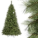 FairyTrees künstlicher Weihnachtsbaum SKANDINAVISCHE Tanne, Material PVC, echten Tannenzapfen, inkl. Metallständer, 250cm, FT16-250