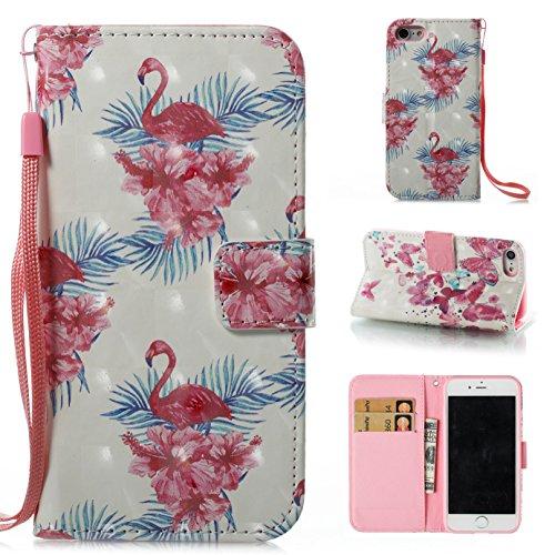 Ooboom® Hülle für iPhone X Handy Tasche 3D Flip PU Leder Schutzhülle Stand Brieftasche Wallet Case Cover mit Trageschlaufe - Vogel Vogel Flower