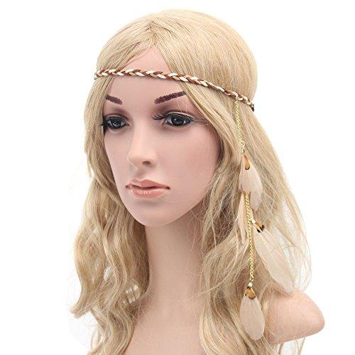 Diadema de plumas de estilo Boho Festival Hippie Weave cinta para el pelo accesorio para el pelo