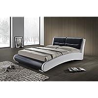 Cama doble blanco y negro 160x 200calidad Premium–estilo moderno y original–Cabecero de cama, patas en metal y somier integrados–Florida