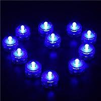 12 Luces de LED de Batería Sumergible Impermeabilizan Boda Underwater Party Velas Luces, Blanco, Luz del té (Azul)
