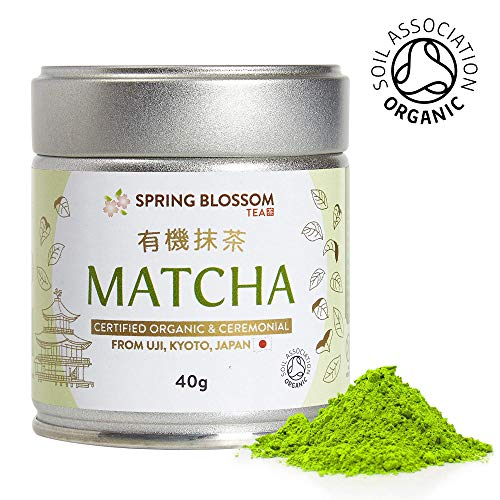 40g Organic Matcha Green Tea Powder Japanese Ceremonial Grade from Uji, Kyoto, First Harvest Stone-Ground, UK Soil Association Certified, Natural Energy Booster (Pull-top Tin Can (40g))