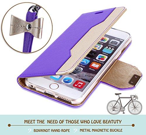 Coque iPhone SE, Coque iPhone 5S, Coque iPhone 5, Fyy® [Rose Or] Étui en cuir PU de première qualité avec Coverture Toute-Puissante pour Apple iPhone SE/5S/5 Bleu Foncé B-Violet + Or
