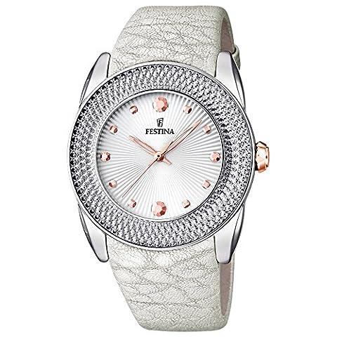 Festina - F16591-A - Montre Femme - Quartz Analogique - Cadran Multicolore - Bracelet Cuir Blanc