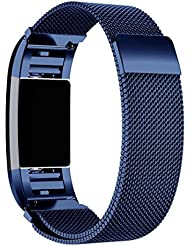Für Fitbit Charge 2 Watchband, Omiky® Milanese Edelstahl Uhrenarmband -Bügel-Armband + HD-Film für Fitbit Charge 2