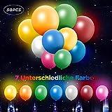 TURATA 50pcs LED Luftballons, Ihr Zuhause wird schöner und Ihre Party wird interessanter! Blinkende 50er Set: 7 Farben Luftballons. Sieben Lichtfarben blinken abwechselnd im weißen Luftballon; Nur eine Lichtfarbe blinkt im anderen Luftballon.Speizifi...