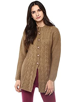 Cayman Women Camel Self-Design Cardigan