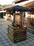 Casa Padrino Garten Brunnen Rustikal mit Schöpfeimer Mod G1 - Eiche Massivholz - Gartenbrunnen Echtholz Massiv