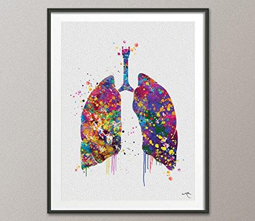 Lungen Watercolor Print menschlichen Organen Atemwege Anatomische Art Klinik Decor Art Student graduaiton Geschenk Medical Krankenschwester Arzt Art gift-1033, Mittel, 11.70 x 16.55