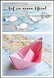 Glückwunschkarte zum Abschied * Auf zu neuen Ufern * Papierschiffchen