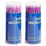 Vococal 2 Können 200 Stk Einweg Micro Wimpernkämme / Mascara Pinsel Wimpern Zauberstab / Dental Medizinische Brush, Lila + Kleine Bürste