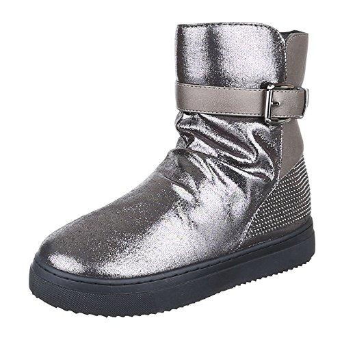 Komfort Stiefeletten Damen Schuhe Schlupfstiefel Leicht Gefütterte Reißverschluss Ital-Design Stiefeletten Silber Grau