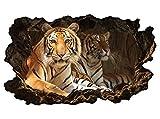 3D Wandtattoo Tiger Augen Tier Kopf Raubkatze Bild selbstklebend Wandbild Wandsticker Wohnzimmer Wand Aufkleber 11G410, Wandbild Größe F:ca. 97cmx57cm