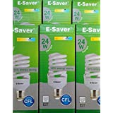Pack de 3/5/6/10luz e-Saver 15W, 20W, 24W, luz diurna, LED/CFL, completo en espiral, casquillo de bayoneta (BC, B22) 440lúmenes, T2, 80% -85% de ahorro de energía bombilla de luz, sin parpadeos, 10,000horas de tiempo de vida, Daylight, e27 24.00 wattsW 240.00 voltsV