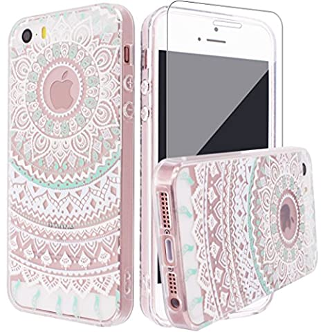 iPhone SE Case, iPhone 5 5s Silicone Case [with Tempered Glass Screen Protector], Yoowei® Crystal Clear Tribal Henna Mandala Floral Totem Series Protective Case for iPhone SE/5/5s