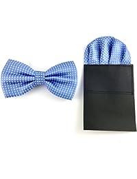 GOOD.designs– Conjunto de pajarita y pañuelo de bolsillo de microfibra, azul claro, ajustable