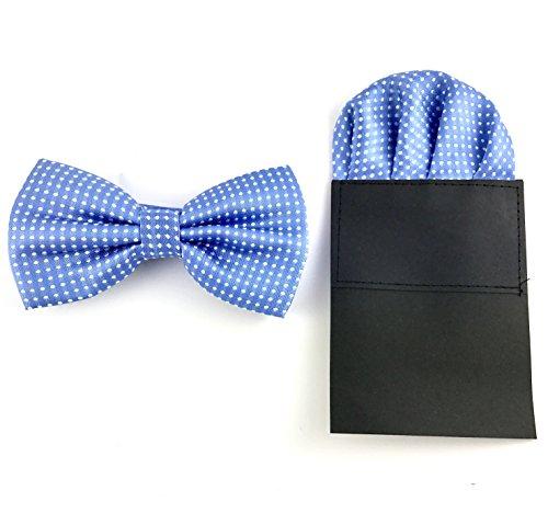 GOOD.designs Herren Fliege mit Einstecktuch aus Mikrofaser - Kunstseide, Fliegen - Set (Hellblau Gepunktet)