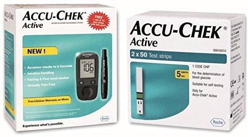 Accu Chek Pro - Accu Chek Glucometer mit Active Strips - 160 Strips - (Multicolor)