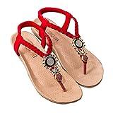 Sfit Damen Sommer Sandalen Böhmen Stil Flach Zehentrenner mit Perlen Dianetten Pantoffel Flip Flop