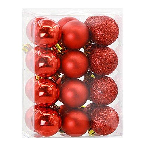 Weihnachtskugeln Set 24 Stücke 3 cm Weihnachtskugeln Baubles Party Weihnachtsbaum Dekorationen Hängen Ornament Party Hochzeit Decor (Rot)