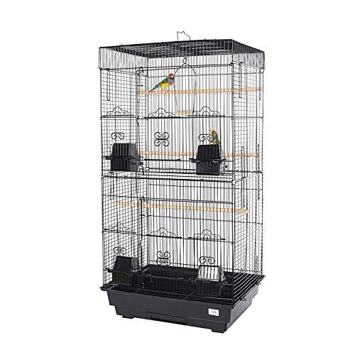 Pet Ting Jaula para pájaros de Color Blanco Rosa, para Finch Canary Budgie, etc. (Negro)