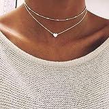 FEITONG Collar de múltiples capas del corazón del amor de las mujeres Joyas de cadena (Plata)