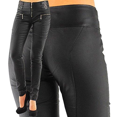 Damen Kunstlederhose Skinny (Röhre No: 245), Grösse:38 M;Farbe:Schwarz