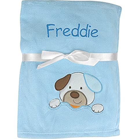 Personalised Super Soft & Fluffy Animals Large Baby Blanket (Blue Puppy Dog)