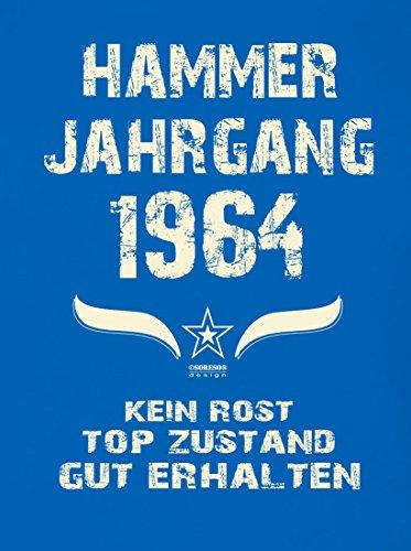 Geschenk zum 53. Geburtstag :-: Geschenkidee kurzarm Geburtstags-Sprüche-T-Shirt mit Jahreszahl :-: Hammer Jahrgang 1964 :-: Geburtstagsgeschenk Männer :-: Farbe: royal-blau Royal-Blau