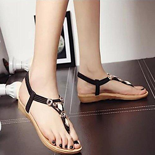 Peep Mulheres toe Sapatos Sandálias Lazer Baixos Bohemia Kaiki Verão Frisado Pretas Sandálias 7qU8gq