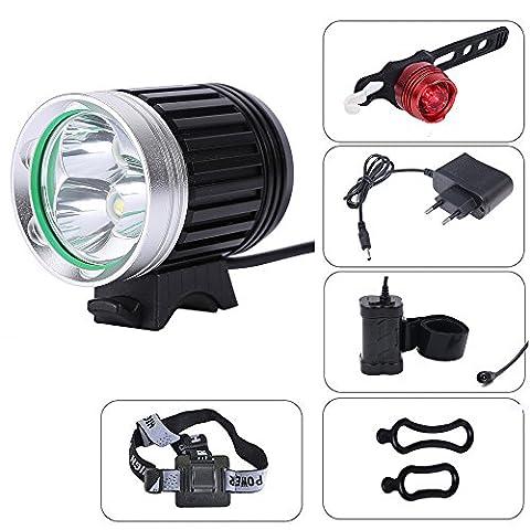 CDC® vélo / Montagne / Enduro éclairage avant Light Lamp (CREE XM-L T6 3 LED) Rechargeable Etanche 4000 Lumens 3 Mode Indicateur antichoc + 4 * 18650 Batterie 7200mah + EU Chargeur de inclus