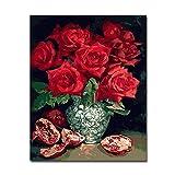 Pintura al óleo por números diy colores pintados a mano rojo rosa roja granada fotos sobre lienzo arte de la pared sala de estar decoración