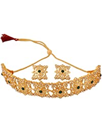 Touchstone Indian Mughal Era Inspired Green Faux Emerald White Crystals Alloy Metal Choker Necklace Set In Gold...