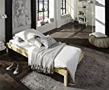 SAM Futonbett 90x200 cm Sina, Jugendbett, Natur, Kiefernholz, massives Bett aus Kiefer