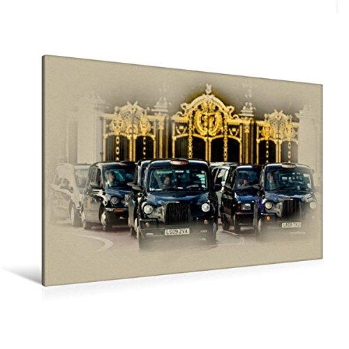 Calvendo Premium Textil-Leinwand 120 cm x 80 cm quer, London Taxi | Wandbild, Bild auf Keilrahmen, Fertigbild auf echter Leinwand, Leinwanddruck Orte Orte (London Eye-bild)