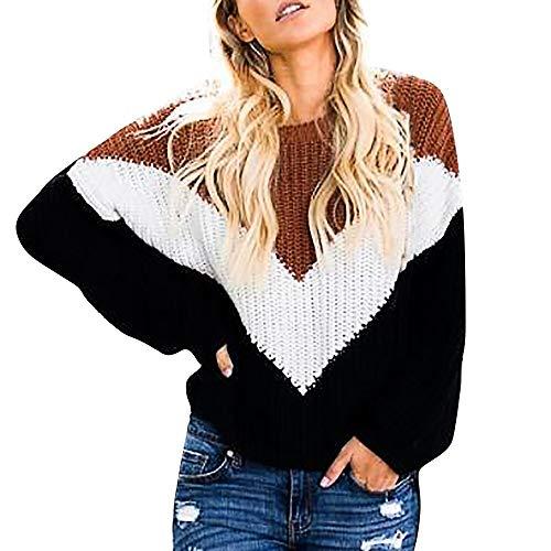 FRAUIT Plus Size Strickpullover Damen Patchwork Frauen Rainbow Stripes Langarm Tops Pullover Mante Pullover Damen Warm Asymmetrische Rollkragenpullover Solid Oberteile Causa
