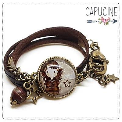 Bracelet 3 Tours Fillette Marron avec Cabochon Verre, Breloque et Perle en Jade, Métal Bronze, Simili Cuir, Ajustable