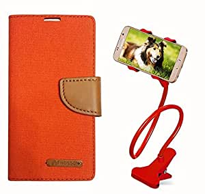 Aart Fancy Wallet Dairy Jeans Flip Case Cover for HTC826 (Orange) + 360 Rotating Bed Moblie Phone Holder Universal Car Holder Stand Lazy Bed Desktop by Aart store.