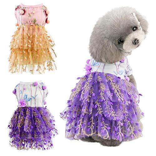 Gamloious Prinzessin Haustier-Hund kleidet Brautkleid Katze Kleid Welpen-Haustier-Tutu Braut Kostüm Hunde Spitze-Partei-Kleid-Supplies rot (Prinzessin Braut Ein Rotes Kleid Kostüm)