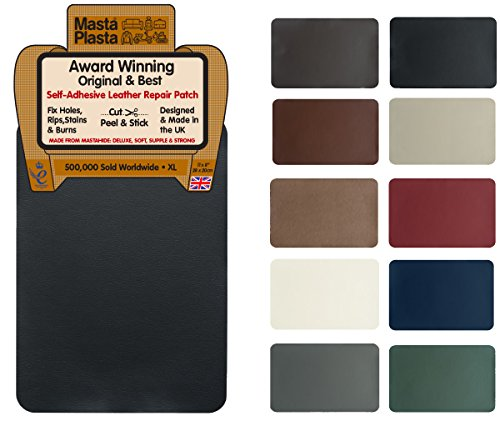 MastaPlasta Self-Adhesive Leather Repair Patch. New XL 28cmx20cm. Choose colour. First-aid for sofas, car seats. Fix holes, rips, burns, stains (BLACK XL)