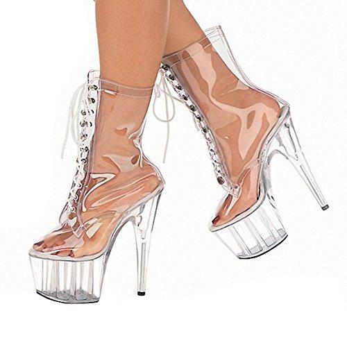 Frau Kurz Stiefel Transparent Kunststoff Wasserdicht Super High Heels Nachtclub Tanzen Schn¨¹rung Kristall Performance Schuhe , transparent , 45 (Tanzen Schuhe Stiefel)