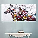 Gbwzz Handgemalte Abstrakte Tier Ölgemälde Auf Leinwand Wohnkultur Wandkunst Messer Pferd Bilder Große Farben Palette Wandmalerei,70x140cm