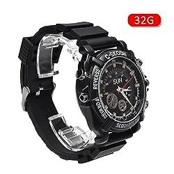 Wasserdichte Smart Watch mit 32GB/16GB, Nachtsicht, HD 1080P versteckte Kamera mit Mini-Camcorder, 32G