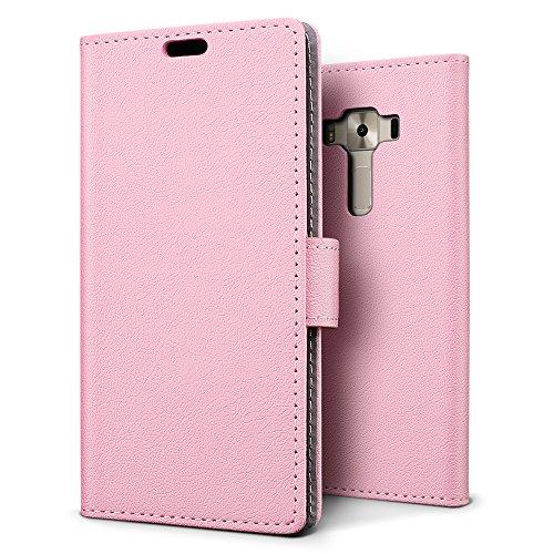 SLEO ASUS ZenFone 3 Deluxe (ZS550KL) Hülle, PU Leder Case Tasche Schutzhülle Flip Case Wallet im Bookstyle für ASUS ZenFone 3 Deluxe (ZS550KL) Cover - Rosa